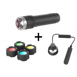 Ledlenser MT10 latarka akumulatorowa + włącznik żelowy + filtry